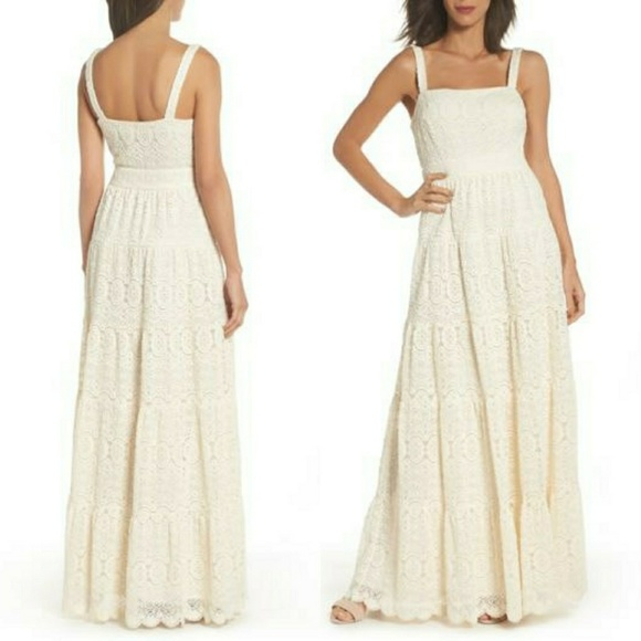 Eliza J Tiered Lace Scalloped Ivory Maxi Dress Nwt Nwt